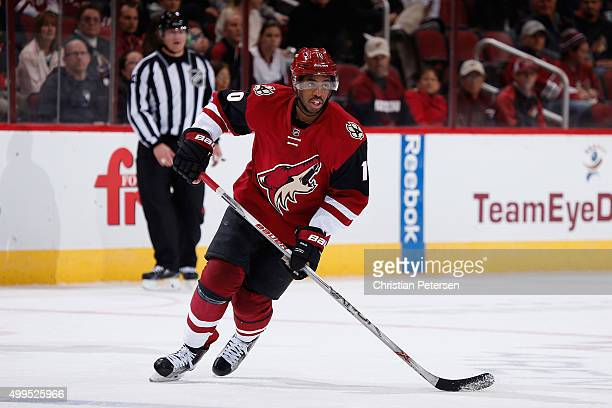 Anthony Duclair of the Arizona Coyotes in action during the NHL game against the Ottawa Senators at Gila River Arena on November 28 2015 in Glendale...
