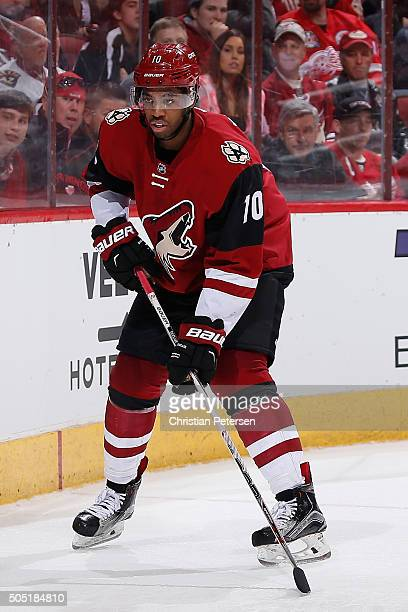 Anthony Duclair of the Arizona Coyotes in action during the NHL game against the Detroit Red Wings at Gila River Arena on January 14 2016 in Glendale...