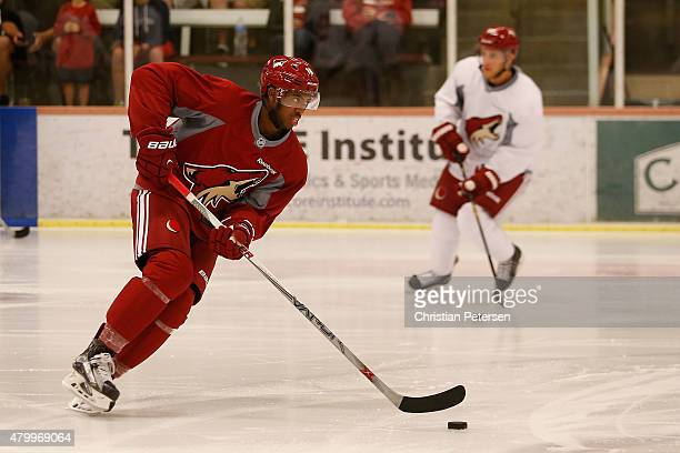 Anthony Duclair of the Arizona Coyotes participates in the prospect development camp at the Ice Den on July 8 2015 in Scottsdale Arizona