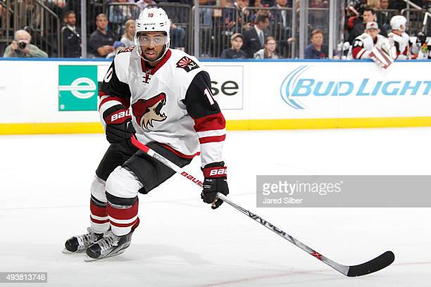 Anthony Duclair of the Arizona Coyotes skates against the New York Rangers at Madison Square Garden on October 22 2015 in New York City