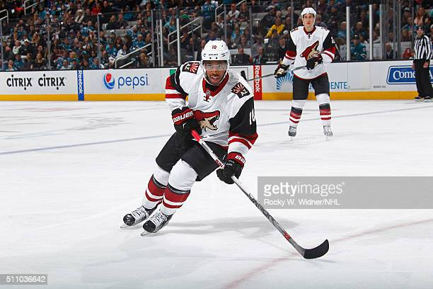 Anthony Duclair of the Arizona Coyotes skates against the San Jose Sharks at SAP Center on February 13 2016 in San Jose California