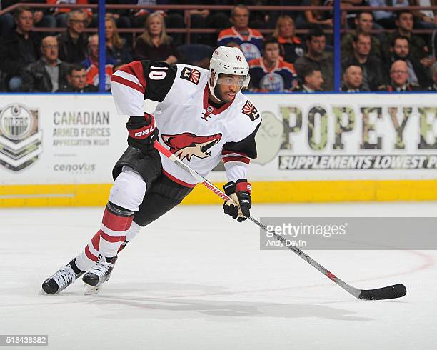 Anthony Duclair of the Arizona Coyotes skates during a game against the Edmonton Oilers on March 12 2016 at Rexall Place in Edmonton Alberta Canada