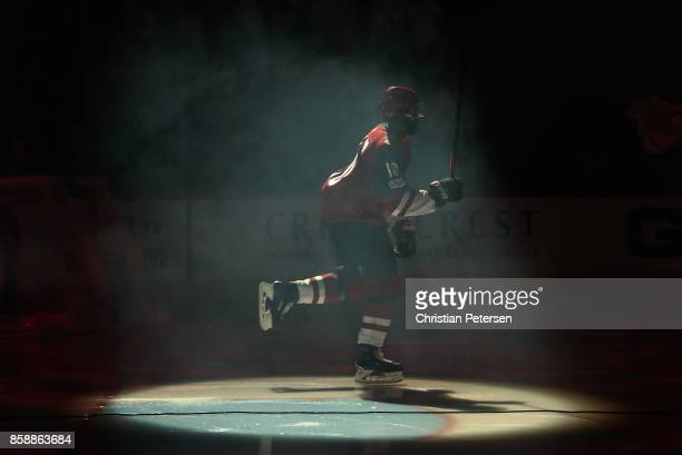 Anthony Duclair of the Arizona Coyotes skates onto the ice as he is introduced to the NHL game against the Vegas Golden Knights at Gila River Arena...