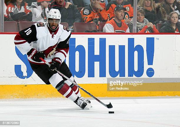 Anthony Duclair of the Arizona Coyotes skates the puck against the Philadelphia Flyers on February 27 2016 at the Wells Fargo Center in Philadelphia...
