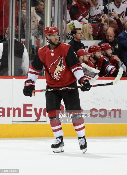 Anthony Duclair of the Arizona Coyotes skates up ice against the New York Rangers at Gila River Arena on January 6 2018 in Glendale Arizona
