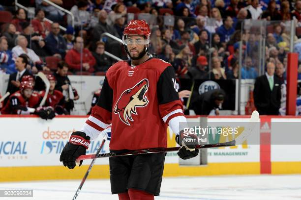 Anthony Duclair of the Arizona Coyotes skates up ice during a stop in play against the New York Rangers at Gila River Arena on January 6 2018 in...