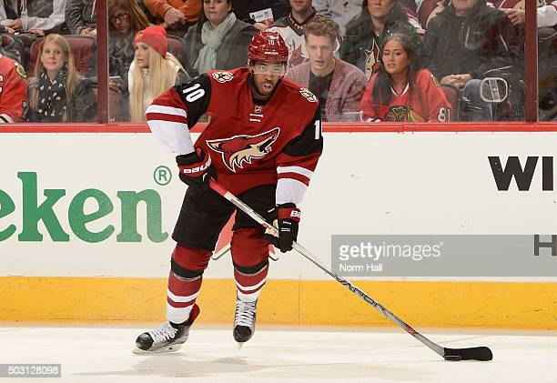 Anthony Duclair of the Arizona Coyotes skates with the puck against the Chicago Blackhawks at Gila River Arena on December 29 2015 in Glendale Arizona