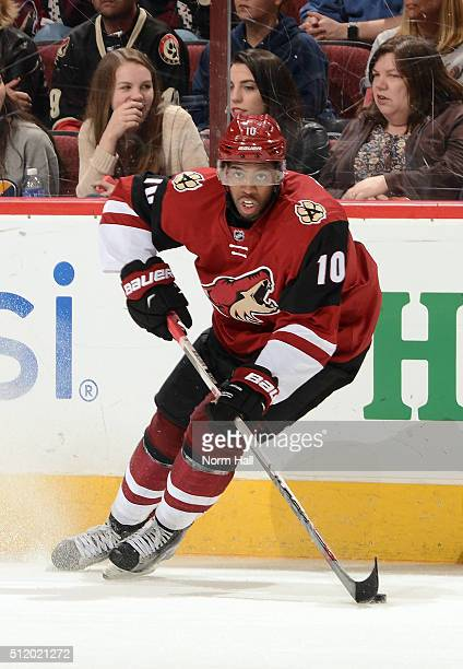 Anthony Duclair of the Arizona Coyotes skates with the puck against the Dallas Stars at Gila River Arena on February 18 2016 in Glendale Arizona