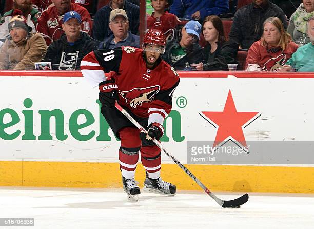 Anthony Duclair of the Arizona Coyotes skates with the puck against the San Jose Sharks at Gila River Arena on March 17 2016 in Glendale Arizona