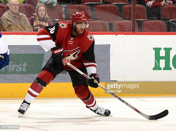Anthony Duclair of the Arizona Coyotes skates with the puck against the Tampa Bay Lightning at Gila River Arena on March 19 2016 in Glendale Arizona