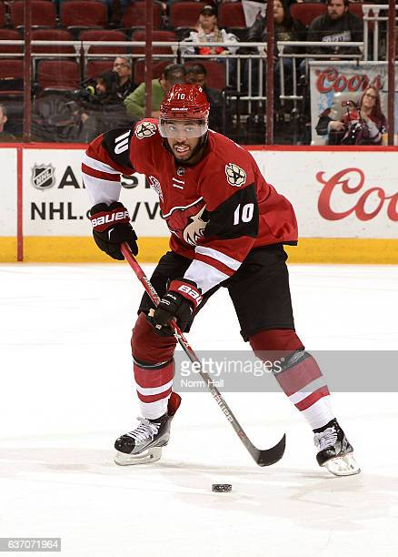 Anthony Duclair of the Arizona Coyotes skates with the puck against the Dallas Stars at Gila River Arena on December 27 2016 in Glendale Arizona