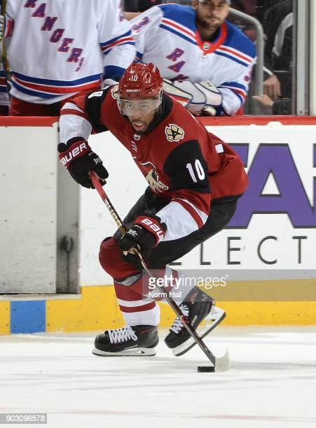 Anthony Duclair of the Arizona Coyotes skates with the puck against the New York Rangers at Gila River Arena on January 6 2018 in Glendale Arizona