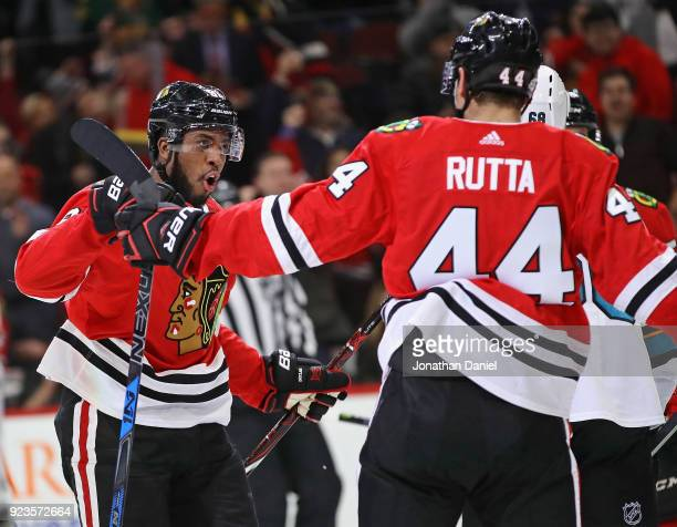 Anthony Duclair of the Chicago Blackhawks celebrates with Jan Rutta after Rutta scored a second period goal against the San Jose Sharks at the United...