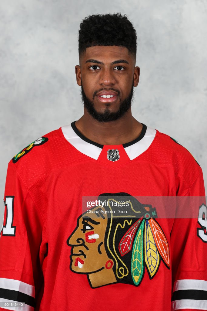 Anthony Duclair #91 of the Chicago Blackhawks poses for his official headshot for the 2017-2018 season at the United Center on January 12, 2018 in Chicago, Illinois.