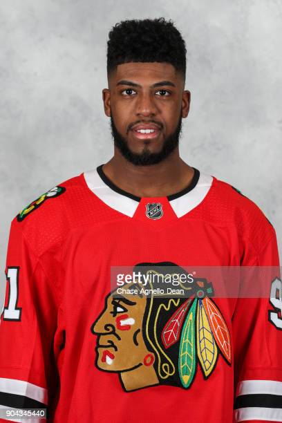 Anthony Duclair of the Chicago Blackhawks poses for his official headshot for the 20172018 season at the United Center on January 12 2018 in Chicago...