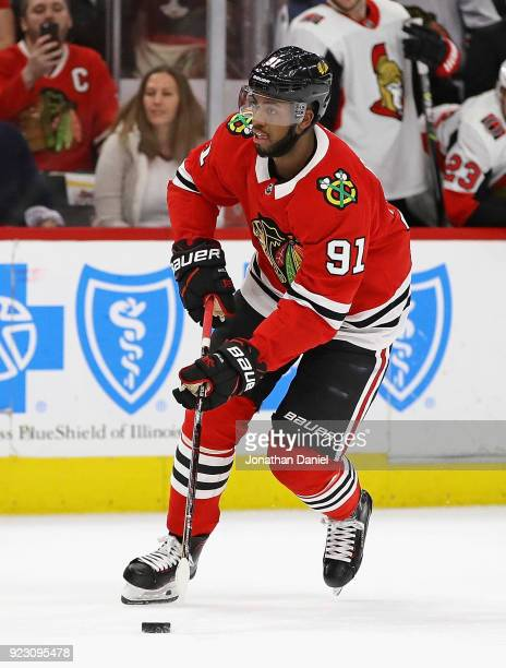 Anthony Duclair of the Chicago Blackhawks readies to shoot during a shootout against the Ottawa Senators at the United Center on February 21 2018 in...
