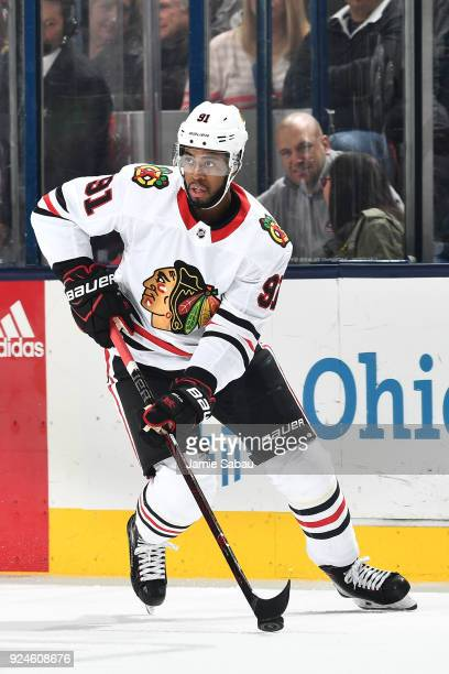 Anthony Duclair of the Chicago Blackhawks skates against the Columbus Blue Jackets on February 24 2018 at Nationwide Arena in Columbus Ohio