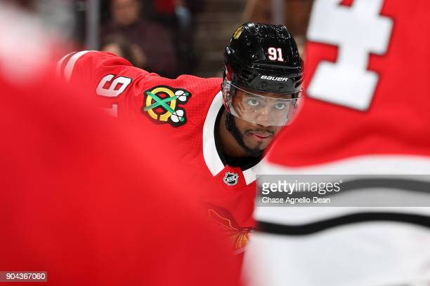 Anthony Duclair of the Chicago Blackhawks waits for the faceoff in the third period against the Winnipeg Jets at the United Center on January 12 2018...