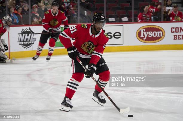 Anthony Duclair of the Chicago Blackhawks warms up prior to the game against the Winnipeg Jets at the United Center on January 12 2018 in Chicago...