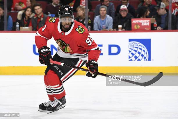 Anthony Duclair of the Chicago Blackhawks watches for the puck in the third period against the Carolina Hurricanes at the United Center on March 8...