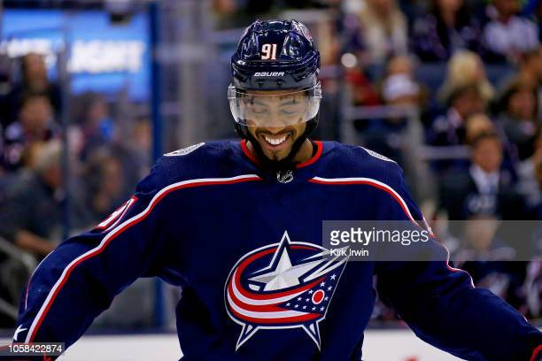 Anthony Duclair of the Columbus Blue Jackets lines up for a faceoff during the game against the Chicago Blackhawks on October 20 2018 at Nationwide...