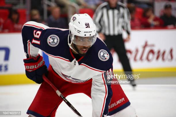 Anthony Duclair of the Columbus Blue Jackets looks on while playing the Detroit Red Wings at Little Caesars Arena on October 4 2018 in Detroit...