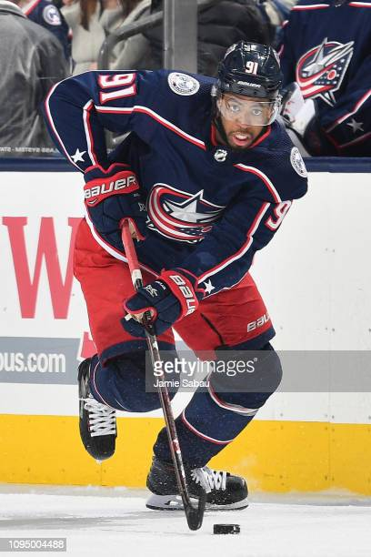 Anthony Duclair of the Columbus Blue Jackets skates against the New Jersey Devils on January 15 2019 at Nationwide Arena in Columbus Ohio