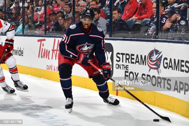 Anthony Duclair of the Columbus Blue Jackets skates against the Carolina Hurricanes on October 5 2018 at Nationwide Arena in Columbus Ohio