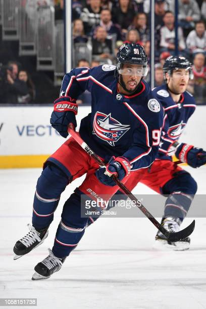 Anthony Duclair of the Columbus Blue Jackets skates against the Chicago Blackhawks on October 20 2018 at Nationwide Arena in Columbus Ohio Chicago...