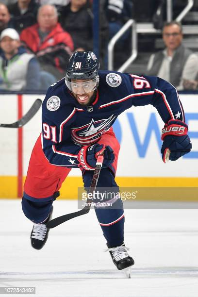 Anthony Duclair of the Columbus Blue Jackets skates against the Toronto Maple Leafs on November 23 2018 at Nationwide Arena in Columbus Ohio