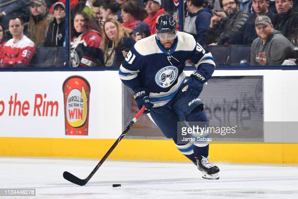Anthony Duclair of the Columbus Blue Jackets skates with the puck during the first period of a game against the Washington Capitals on February 12...