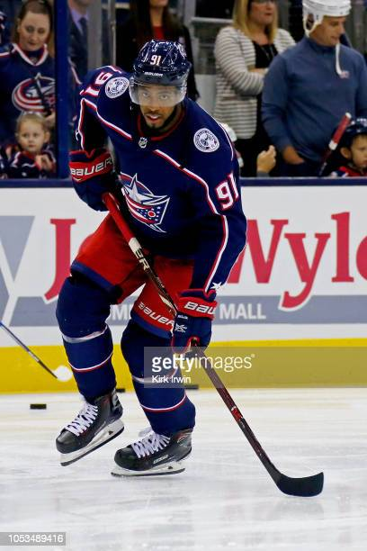 Anthony Duclair of the Columbus Blue Jackets warms up prior to the start of the game against the Colorado Avalanche on October 9 2018 at Nationwide...
