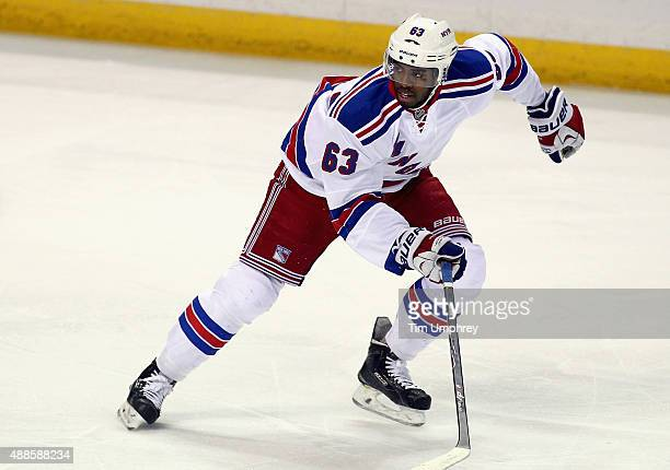 Anthony Duclair of the New York Rangers plays in the game against the St Louis Blues at the Scottrade Center on October 9 2014 in St Louis Missouri