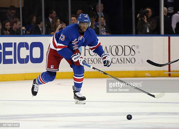 Anthony Duclair of the New York Rangers skates against the Minnesota Wild at Madison Square Garden on October 27 2014 in New York City The Rangers...