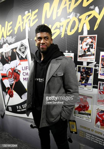 Anthony Duclair of the Ottawa Senators attends the NHL Black History Month Truck Tour at Winterfest in Keiner Plaza on January 25 2020 in St Louis...