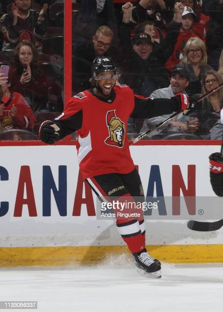 Anthony Duclair of the Ottawa Senators celebrates his first period goal against the Buffalo Sabres at Canadian Tire Centre on March 26 2019 in Ottawa...