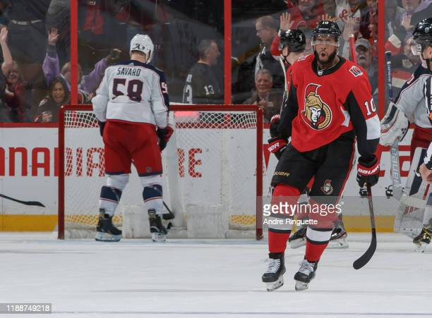 Anthony Duclair of the Ottawa Senators celebrates his gamewinning overtime goal against the Columbus Blue Jackets at Canadian Tire Centre on December...