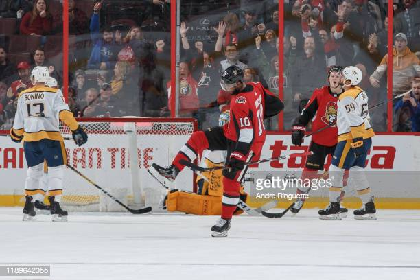 Anthony Duclair of the Ottawa Senators celebrates his gamewinning overtime goal against the Nashville Predators at Canadian Tire Centre on December...