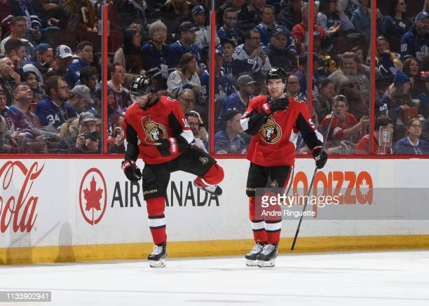 Anthony Duclair of the Ottawa Senators celebrates his second period goal against the Toronto Maple Leafs with teammate Magnus Paajarvi at Canadian...