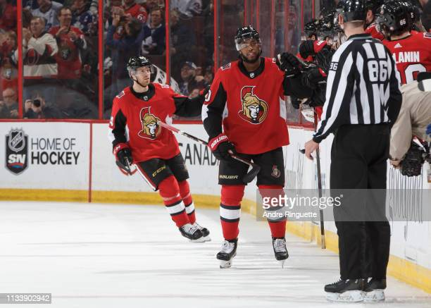 Anthony Duclair of the Ottawa Senators celebrates his second period goal against the Toronto Maple Leafs at Canadian Tire Centre on March 30 2019 in...