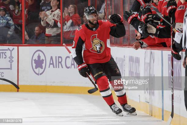 Anthony Duclair of the Ottawa Senators celebrates his second period goal against the New York Rangers with teammates at the players bench at Canadian...