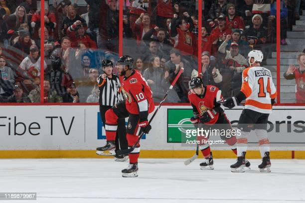 Anthony Duclair of the Ottawa Senators celebrates his second period powerplay goal against the Philadelphia Flyers at Canadian Tire Centre on...