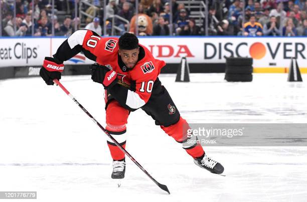 Anthony Duclair of the Ottawa Senators competes in the Bridgestone NHL Fastest Skater event as part of the 2020 NHL AllStar Skills competition at...
