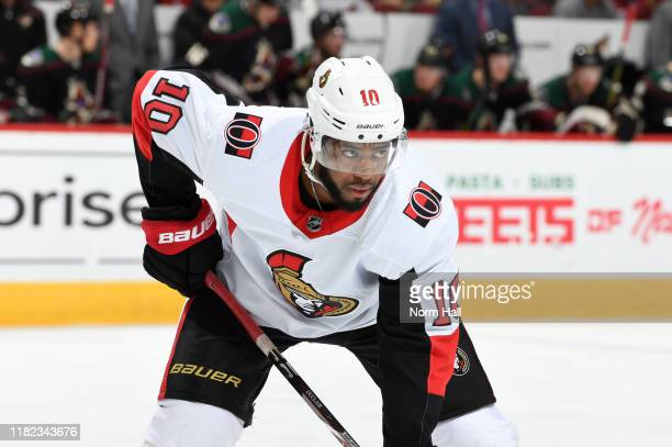 Anthony Duclair of the Ottawa Senators gets ready during a faceoff against the Arizona Coyotes at Gila River Arena on October 19 2019 in Glendale...