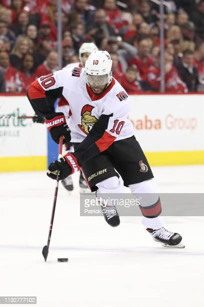 Anthony Duclair of the Ottawa Senators in action against the Washington Capitals during the first period at Capital One Arena on February 26 2019 in...