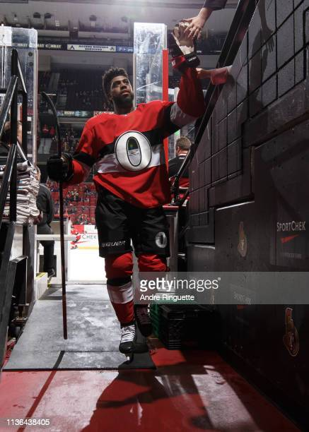 Anthony Duclair of the Ottawa Senators leaves the ice after warmup prior to a game against the St Louis Blues at Canadian Tire Centre on March 14...