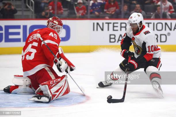 Anthony Duclair of the Ottawa Senators scores a first period goal past Jonathan Bernier of the Detroit Red Wings at Little Caesars Arena on November...