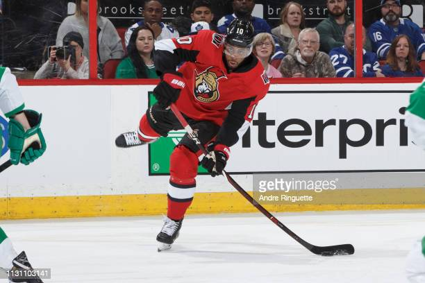 Anthony Duclair of the Ottawa Senators shoots the puck against the Toronto Maple Leafs at Canadian Tire Centre on March 16 2019 in Ottawa Ontario...
