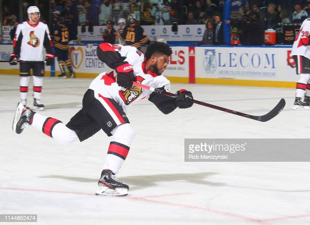 Anthony Duclair of the Ottawa Senators shoots the puck before an NHL game against the Buffalo Sabres on April 4 2019 at KeyBank Center in Buffalo New...