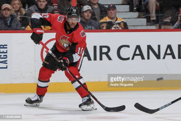 Anthony Duclair of the Ottawa Senators skates against the Boston Bruins at Canadian Tire Centre on November 27 2019 in Ottawa Ontario Canada